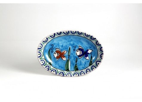 Oval plate cm.26 decorated with little fishes
