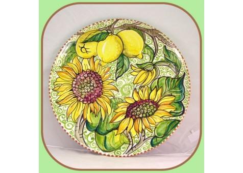 Piatto cm.37 fondo verde chiaro limoni e girasoli