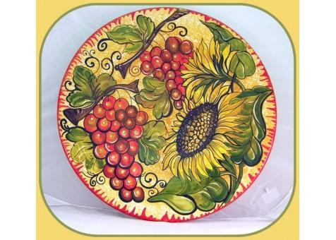 Piatto cm.37 con girasoli e uva