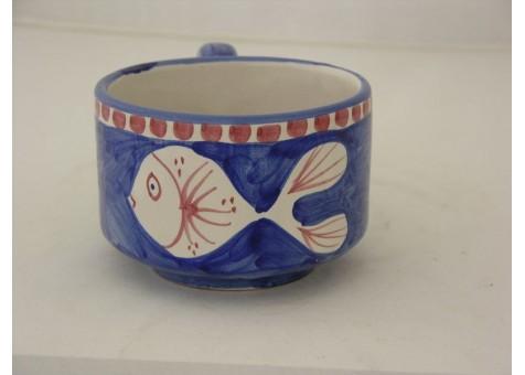 Tazza the' pesce fondo blu elettrico