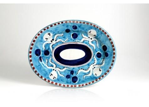 Ovale cm.37 polipo fondo turchese