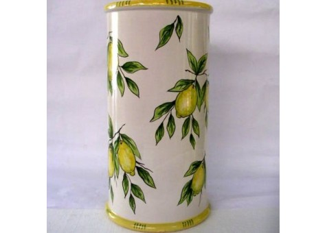 Portombrelli cilindrico limoni fondo bianco.