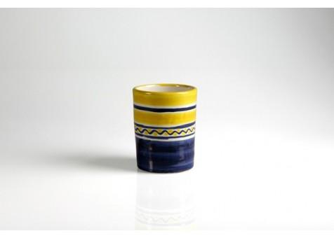 Bicchiere cm.8 fantasia blu e giallo