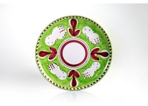 Piatto piano cm.30 seppia fondo verde chiaro
