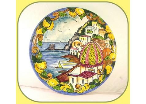 Piatto cm.37con paesaggio di  Positano e Limoni