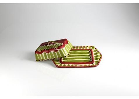Burriera rettangolare verde chiaro e rosso