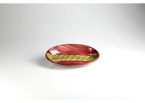 Ovale cm.26 fantasia rosso e verde chiaro
