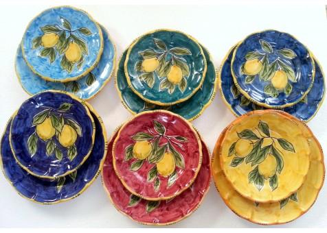 Servizio piatti ceramica artistica sorrentina - Piatti di frutta decorati ...