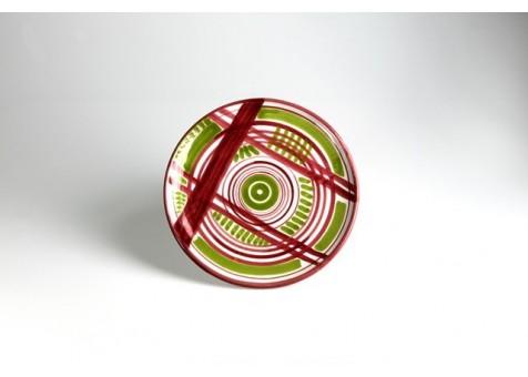Piatto piano cm.26 b.liscio fantasia verde chiaro e rosso