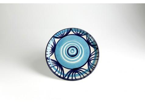 Piatto piano cm.26 b.liscio fantasia blu e turchese