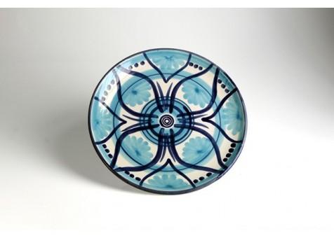 Piatto piano b.liscio fantasia blu e turchese